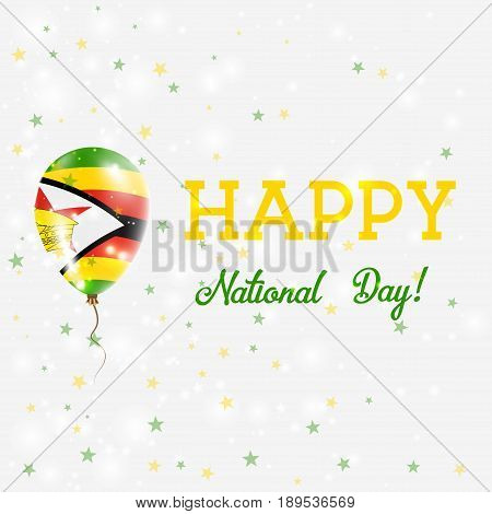 Zimbabwe National Day Patriotic Poster. Flying Rubber Balloon In Colors Of The Zimbabwean Flag. Zimb