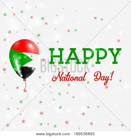 Sudan National Day Patriotic Poster. Flying Rubber Balloon In Colors Of The Sudanese Flag. Sudan Nat