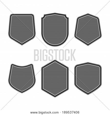 Set Of Black Shields In Trendy Flat Style Isolated On White Background. Herald Logo And Medieval Shi
