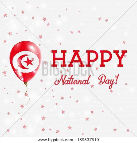 Tunisia National Day Patriotic Poster. Flying Rubber Balloon In Colors Of The Tunisian Flag. Tunisia