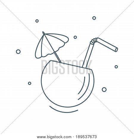 Stylized Icon Of The Cocktail In Half Coconut, Tube And Umbrella. Travel And Leisure.