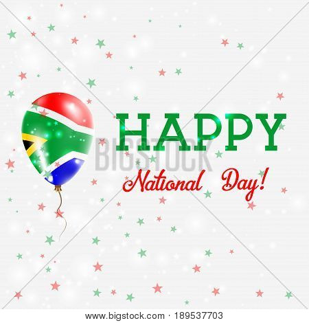 South Africa National Day Patriotic Poster. Flying Rubber Balloon In Colors Of The South African Fla