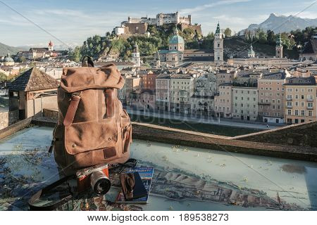 Austria. Salzburg. Preparation For Travel,trip Vacation, Tourism Mock Up Of Cell Phone,road Map, Bac