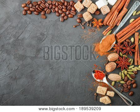 Spices And Condiments. Ingredients For Desserts And Sweet Pastries - Cinnamon, Star Anise, Cardamom,