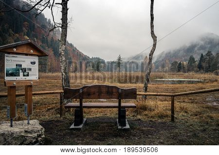 GERMANY Alpsee - 26 OCTOBER 2016: Alpine Lake Schwansee near Hohenschwangau Castle and Neuschwanstein Castle. Cloudy autumn with rain. Autumn forest and beautiful view of the lake.