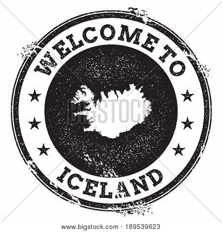 Vintage Passport Welcome Stamp With Iceland Map. Grunge Rubber Stamp With Welcome To Iceland Text, V