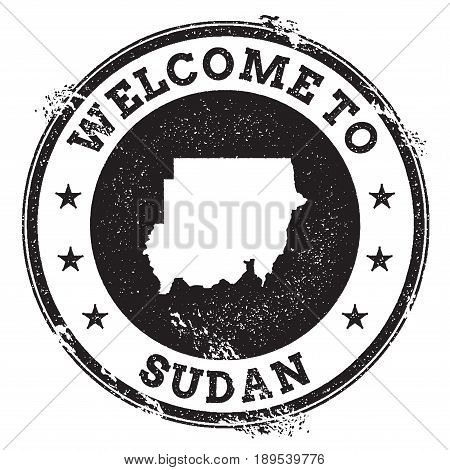 Vintage Passport Welcome Stamp With Sudan Map. Grunge Rubber Stamp With Welcome To Sudan Text, Vecto