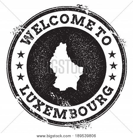 Vintage Passport Welcome Stamp With Luxembourg Map. Grunge Rubber Stamp With Welcome To Luxembourg T