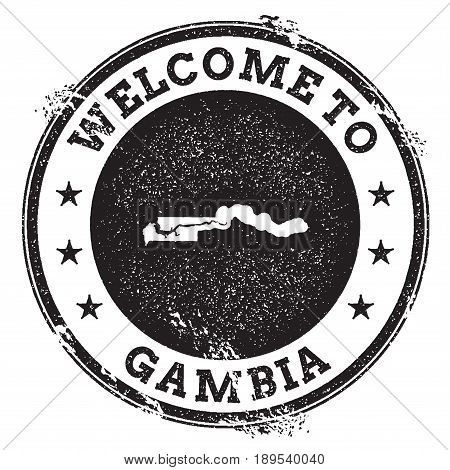 Vintage Passport Welcome Stamp With Gambia Map. Grunge Rubber Stamp With Welcome To Gambia Text, Vec