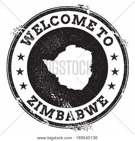 Vintage Passport Welcome Stamp With Zimbabwe Map. Grunge Rubber Stamp With Welcome To Zimbabwe Text,