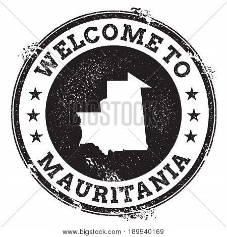 Vintage Passport Welcome Stamp With Mauritania Map. Grunge Rubber Stamp With Welcome To Mauritania T
