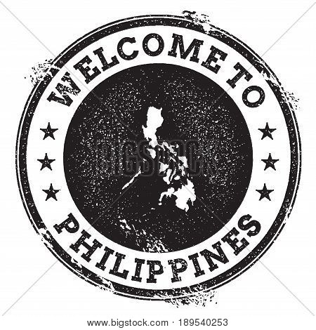 Vintage Passport Welcome Stamp With Philippines Map. Grunge Rubber Stamp With Welcome To Philippines