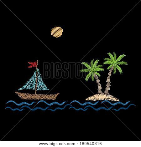 Palm tree with wave boat and sun embroidery stitches imitation on black background. Embroidery vector illustration with exotic palm tree. Vector isolated palm embroidery illustration.