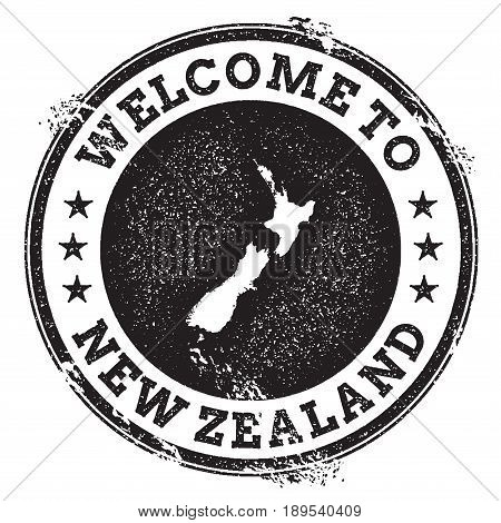 Vintage Passport Welcome Stamp With New Zealand Map. Grunge Rubber Stamp With Welcome To New Zealand