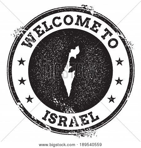 Vintage Passport Welcome Stamp With Israel Map. Grunge Rubber Stamp With Welcome To Israel Text, Vec