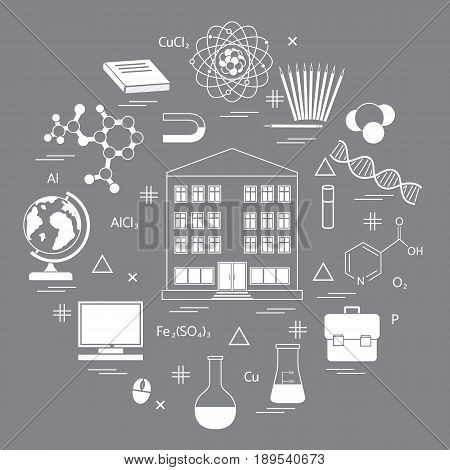 Vector Illustration Of Variety Scientific, Education Elements In A Circle.