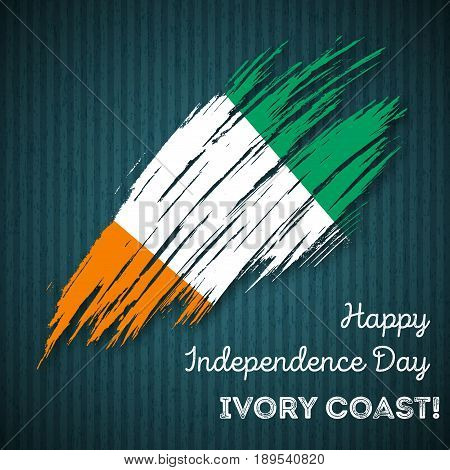 Ivory Coast Independence Day Patriotic Design. Expressive Brush Stroke In National Flag Colors On Da