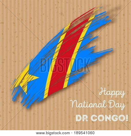 Dr Congo Independence Day Patriotic Design. Expressive Brush Stroke In National Flag Colors On Kraft