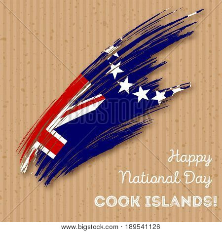 Cook Islands Independence Day Patriotic Design. Expressive Brush Stroke In National Flag Colors On K