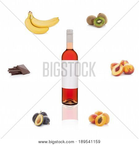 Rose wine with empty label with different fruits and chocolate isolated on white background. Aroma of wine. Wine bouguet.