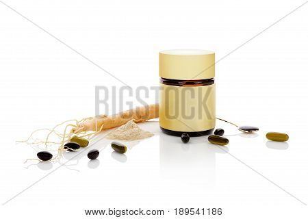 Korean ginseng isolated. Root powder pills and extract in glass bottle isolated on white background.