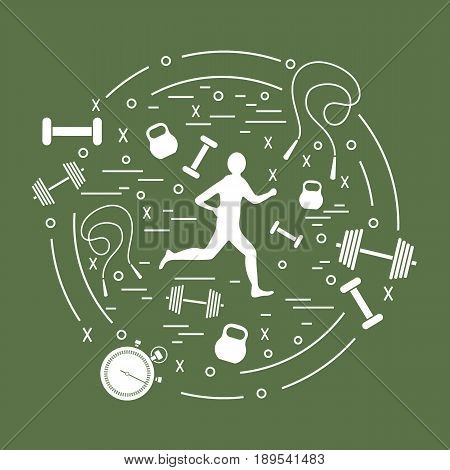 Vector Illustration Of The Jogging Man And Different Kinds Of Sports Equipment Arranged In A Circle.