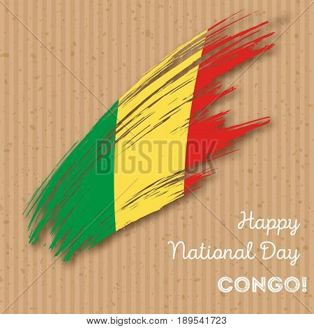 Congo Independence Day Patriotic Design. Expressive Brush Stroke In National Flag Colors On Kraft Pa