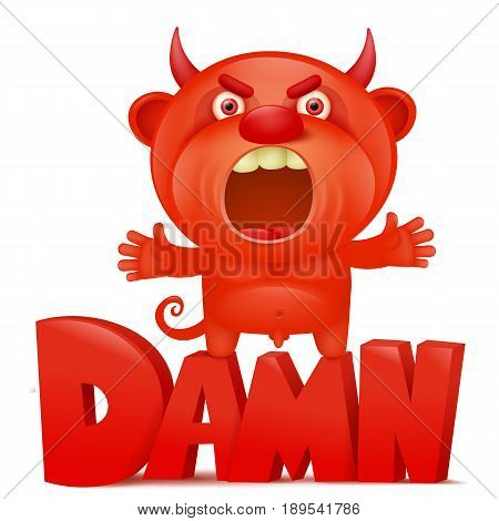 Funny cartoon red little devil emoji character with damn title. Vector illustration