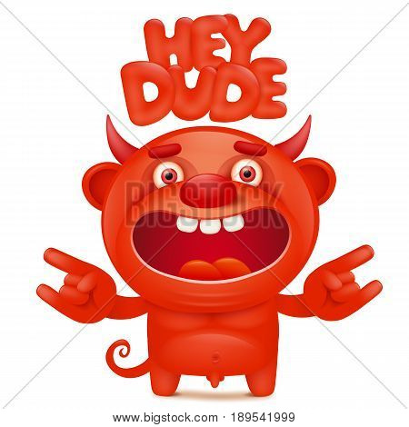 Funny cartoon red little devil emoji character with hey dude title. Vector illustration