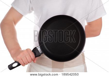 Chef holding frying pan isolated on white background.