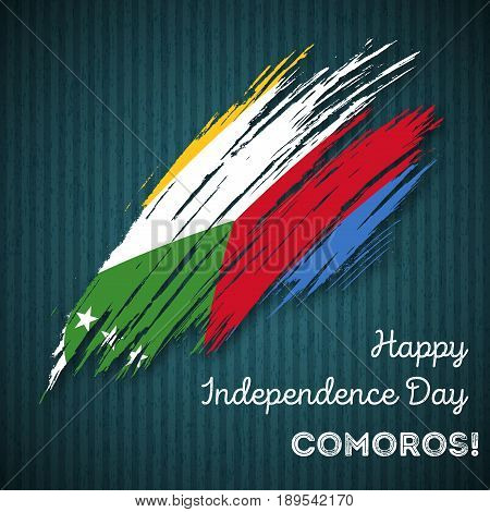 Comoros Independence Day Patriotic Design. Expressive Brush Stroke In National Flag Colors On Dark S