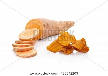 Batata potato chips isolated on white background.