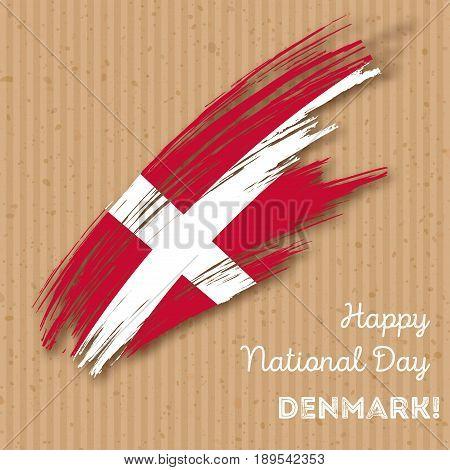 Denmark Independence Day Patriotic Design. Expressive Brush Stroke In National Flag Colors On Kraft