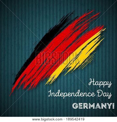 Germany Independence Day Patriotic Design. Expressive Brush Stroke In National Flag Colors On Dark S