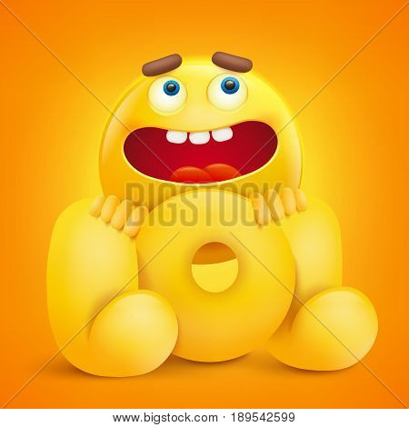 LOL concept illustration with yellow emoji character. Vector illustration