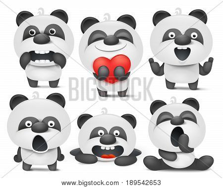 Set of panda cartoon emoji characters in different situations. Vector illustration