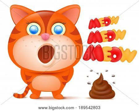 Striped ginger cat cartoon character with bunch of poop Vector illustration