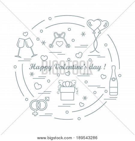 Cute Vector Illustration: Gifts, Balloons, Stemware, Keys, Gender Symbols, Bottle With Hearts And Sn