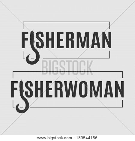 Two vector fisheries logos. Fisherman and fisherwoman badge with stylized bait shaped letter isolated on the grey background