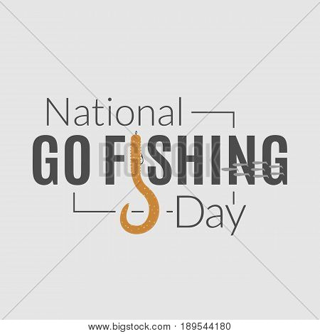 National go fishing day logo. Vector badge of text with stylized twister-shaped letter. Fishery card illustration