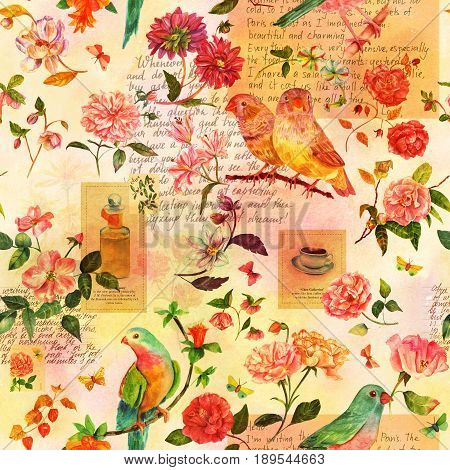 Toned seamless pattern with hand drawn watercolor birds, flowers and butterflies, and scraps of stylized pieces of old texts and postage stamps