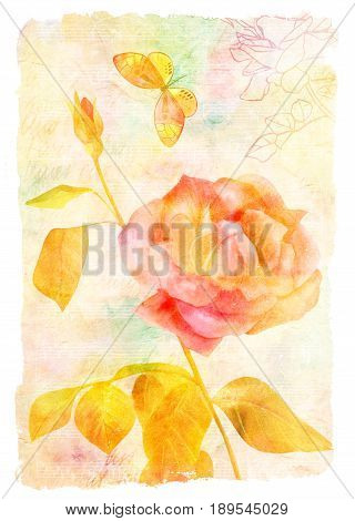 Vintage collage with a vibrant rose and butterfly on a watercolor texture with sheet music and a handwritten text about Paris, with a rose silhouette. An old-fashioned post card, golden toned
