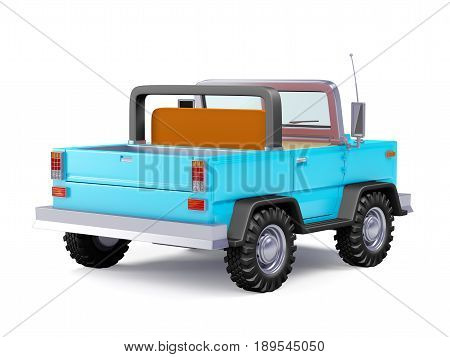 Blue safari suv back view in retro cartoon style isolated on white. 3d illustration.