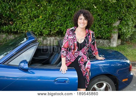 Forties Fashion Woman In Blue Car Convertible