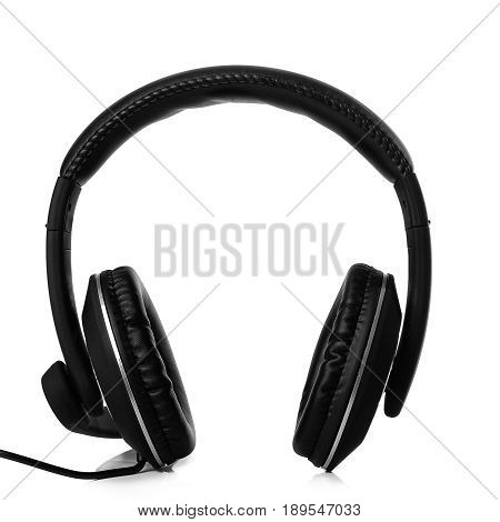 Black headphones isolated on a white background