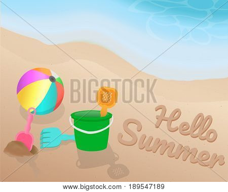 Green orange pink blue Beach toy and colorful beach ball on the beach. Hello Summer on the sand with the blue tone of wave. illustration. vector. graphic design. summer season.