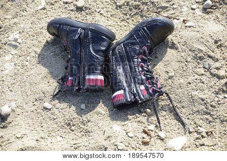 Shoes, Materials From Refugees Wash Ashore At Lesvos