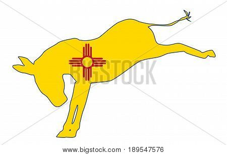 The New Mexico Democrat party donkey flag over a white background