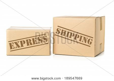 Two corrugated cardboard carton parcels with Express Shipping imprint