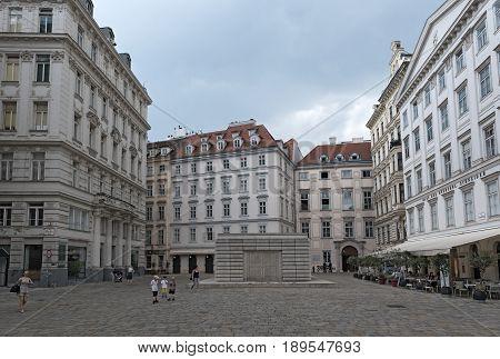 VIENNA, AUSTRIA-MAY 31, 2017: Judenplatz Holocaust Memorial also known as the Nameless Library in Judenplatz, Vienna